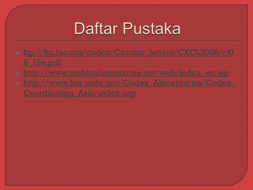 Daftar Pustaka ftp://ftp.fao.org/codex/Circular_letters/CXCL2008/cl08_15e.pdf. http://www.codexalimentarius.net/web/index_en.jsp.
