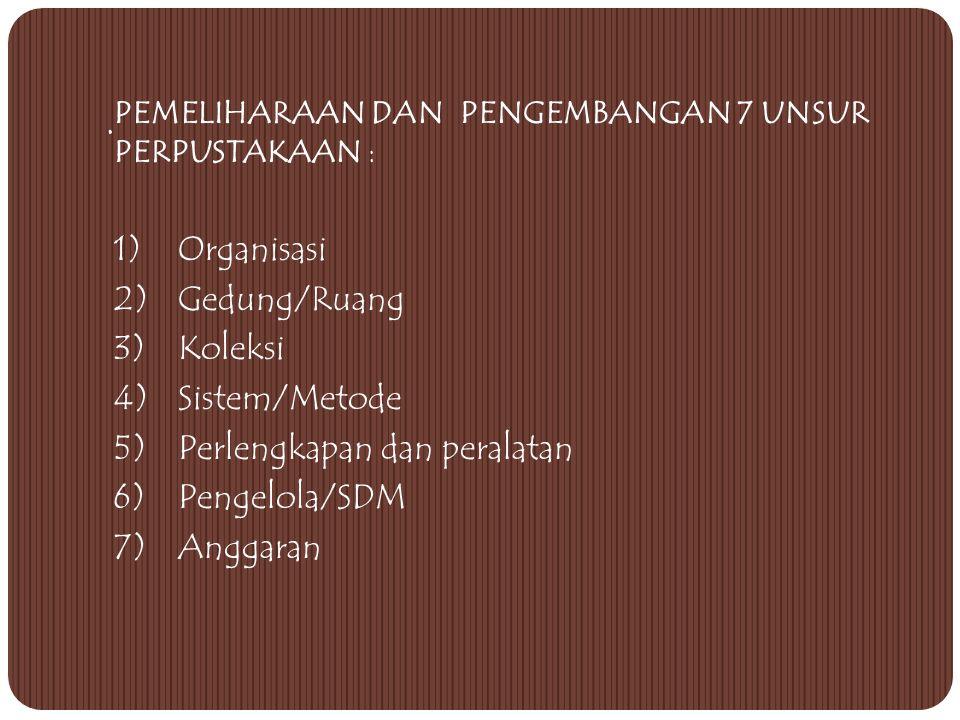 5) Perlengkapan dan peralatan 6) Pengelola/SDM 7) Anggaran .