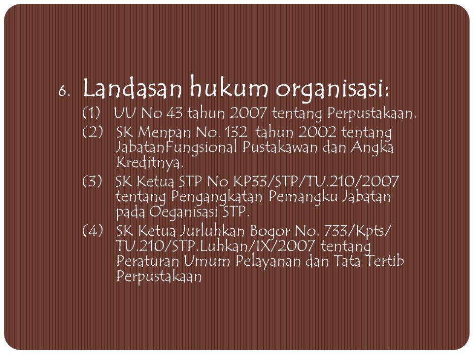 6. Landasan hukum organisasi: (1) UU No 43 tahun 2007 tentang Perpustakaan.