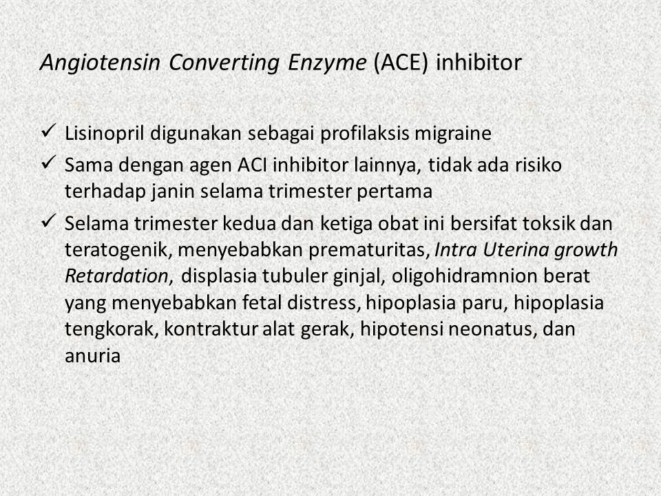 Angiotensin Converting Enzyme (ACE) inhibitor