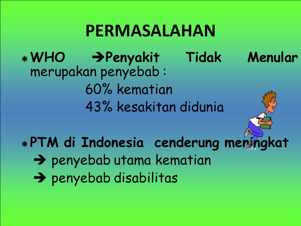 PERMASALAHAN WHO Penyakit Tidak Menular merupakan penyebab :
