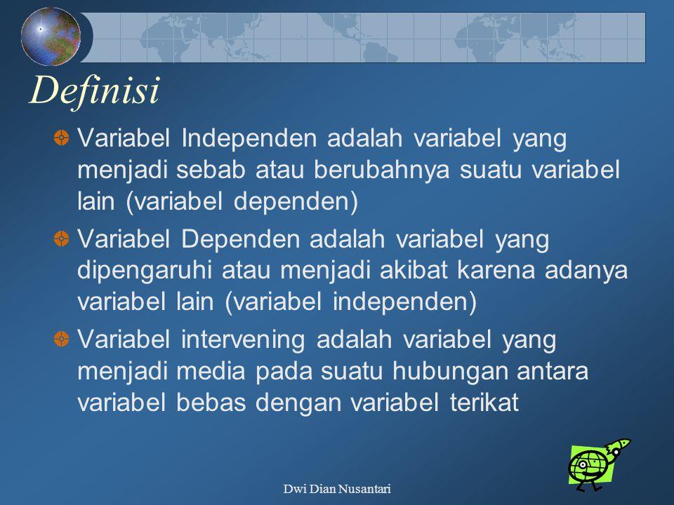 Definisi Variabel Independen adalah variabel yang menjadi sebab atau berubahnya suatu variabel lain (variabel dependen)