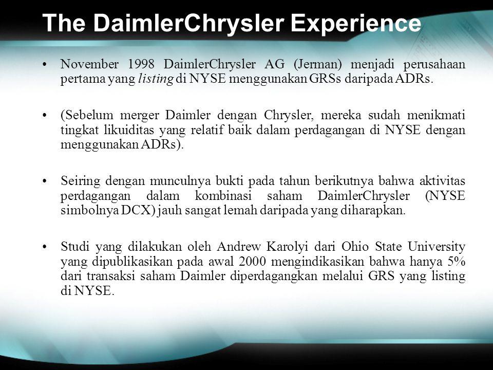 The DaimlerChrysler Experience