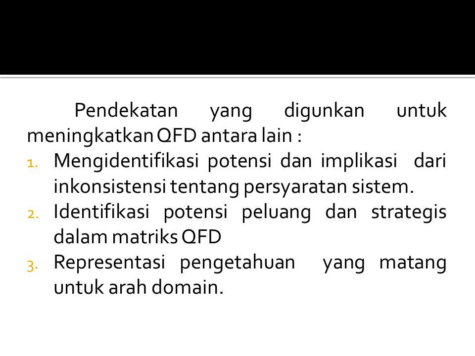 Pendekatan yang digunkan untuk meningkatkan QFD antara lain :