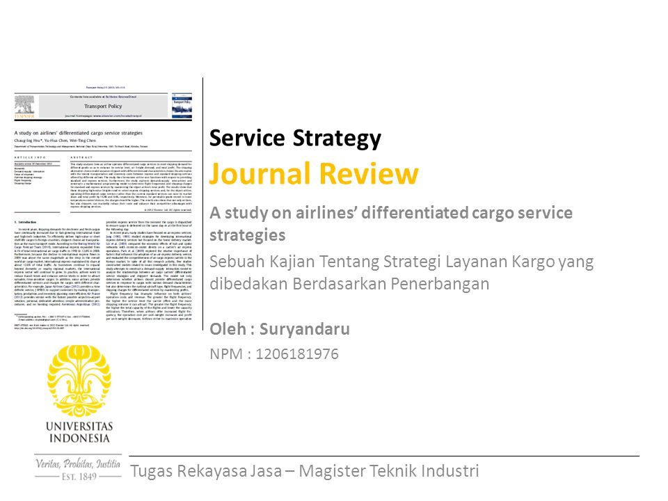 Service Strategy Journal Review