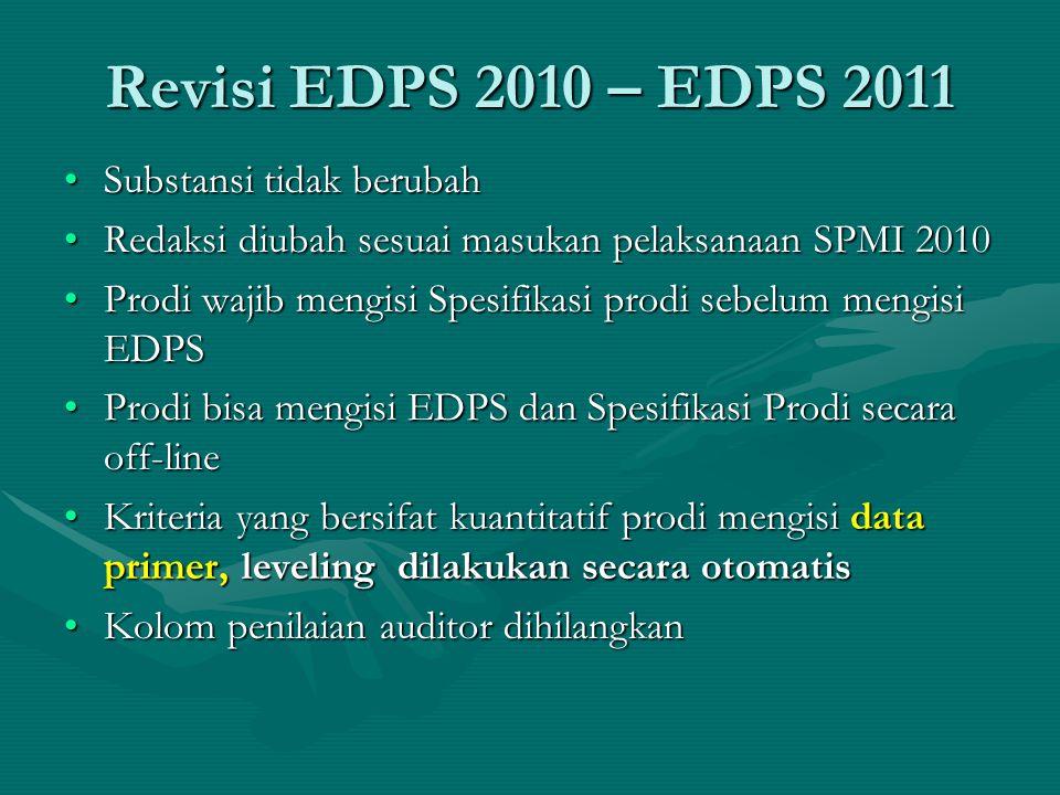 Revisi EDPS 2010 – EDPS 2011 Substansi tidak berubah