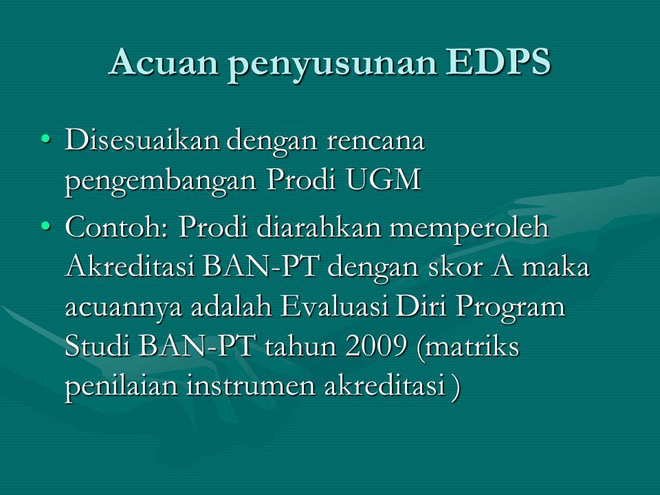 Acuan penyusunan EDPS Disesuaikan dengan rencana pengembangan Prodi UGM.