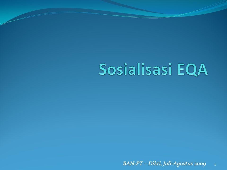 Sosialisasi EQA BAN-PT – Dikti, Juli-Agustus 2009