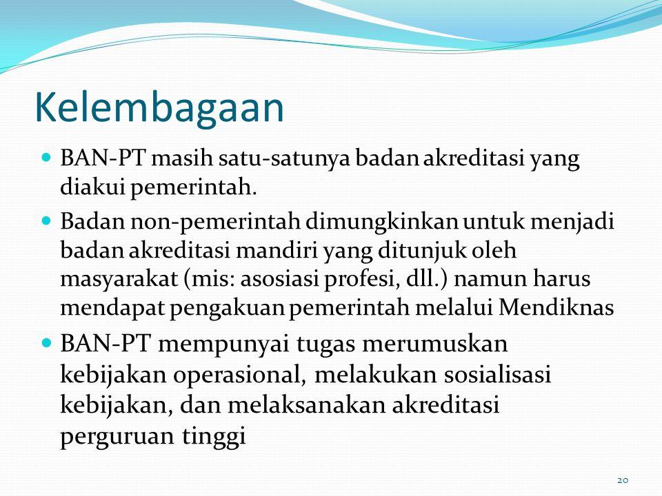 Kelembagaan BAN-PT masih satu-satunya badan akreditasi yang diakui pemerintah.