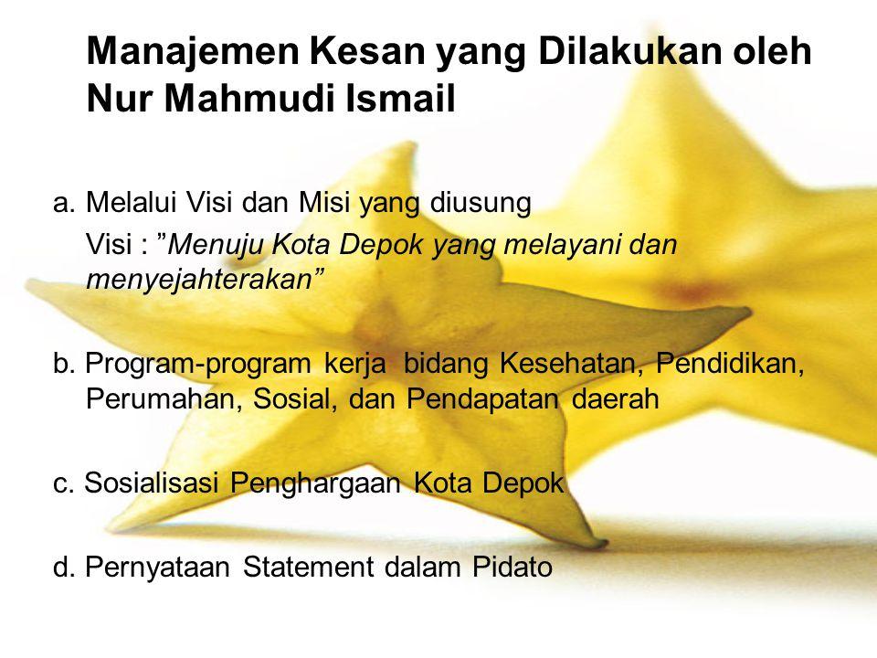 Manajemen Kesan yang Dilakukan oleh Nur Mahmudi Ismail