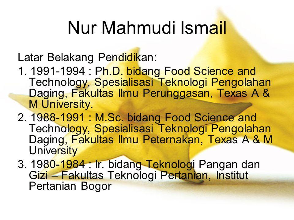 Nur Mahmudi Ismail Latar Belakang Pendidikan: