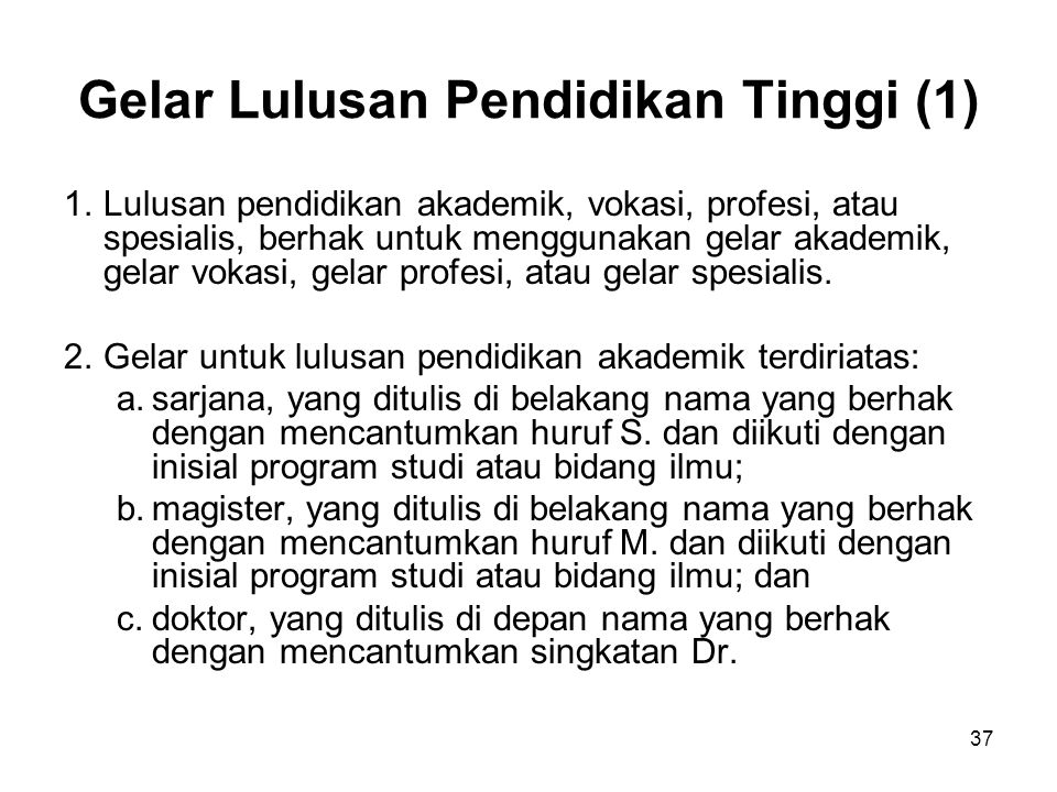 Gelar Lulusan Pendidikan Tinggi (1)