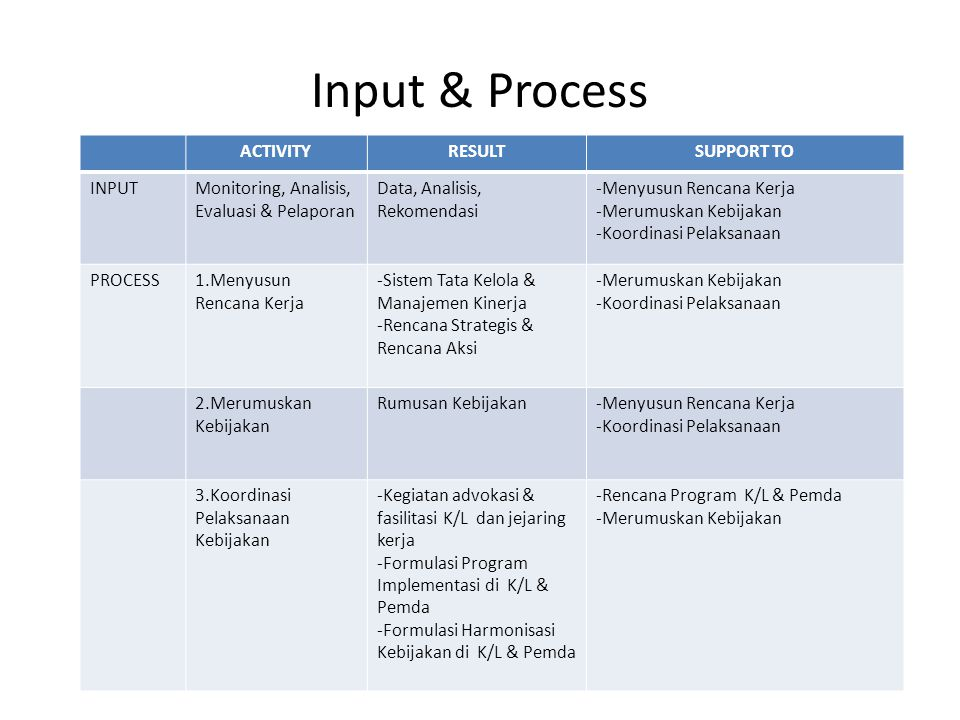 Input & Process ACTIVITY RESULT SUPPORT TO INPUT