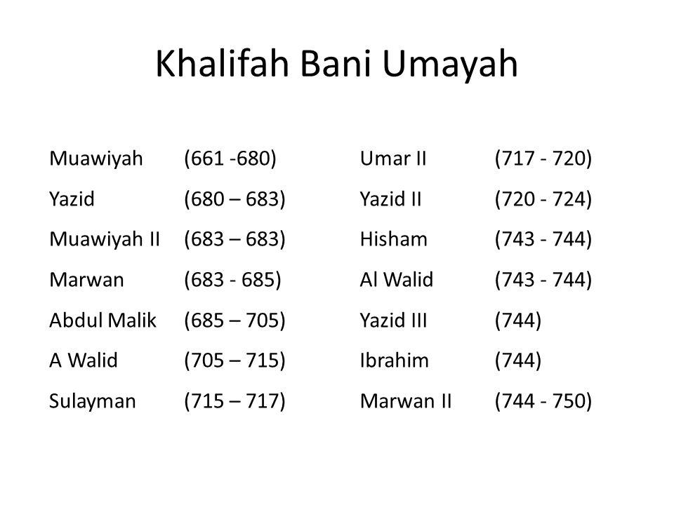 Khalifah Bani Umayah Muawiyah (661 -680) Yazid (680 – 683)