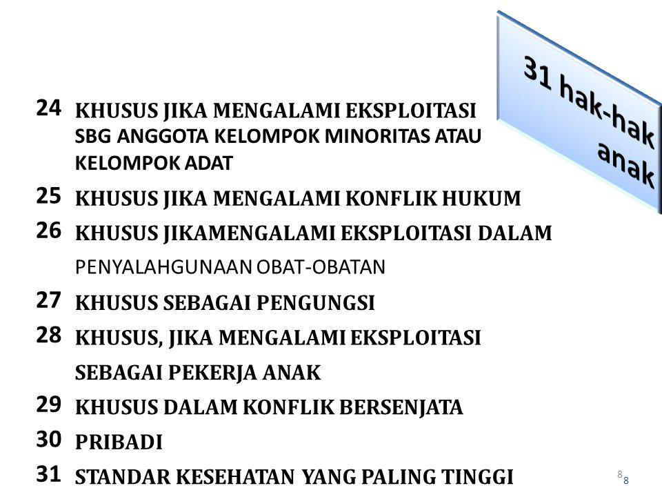 31 hak-hak anak 24. KHUSUS JIKA MENGALAMI EKSPLOITASI. SBG ANGGOTA KELOMPOK MINORITAS ATAU. KELOMPOK ADAT.