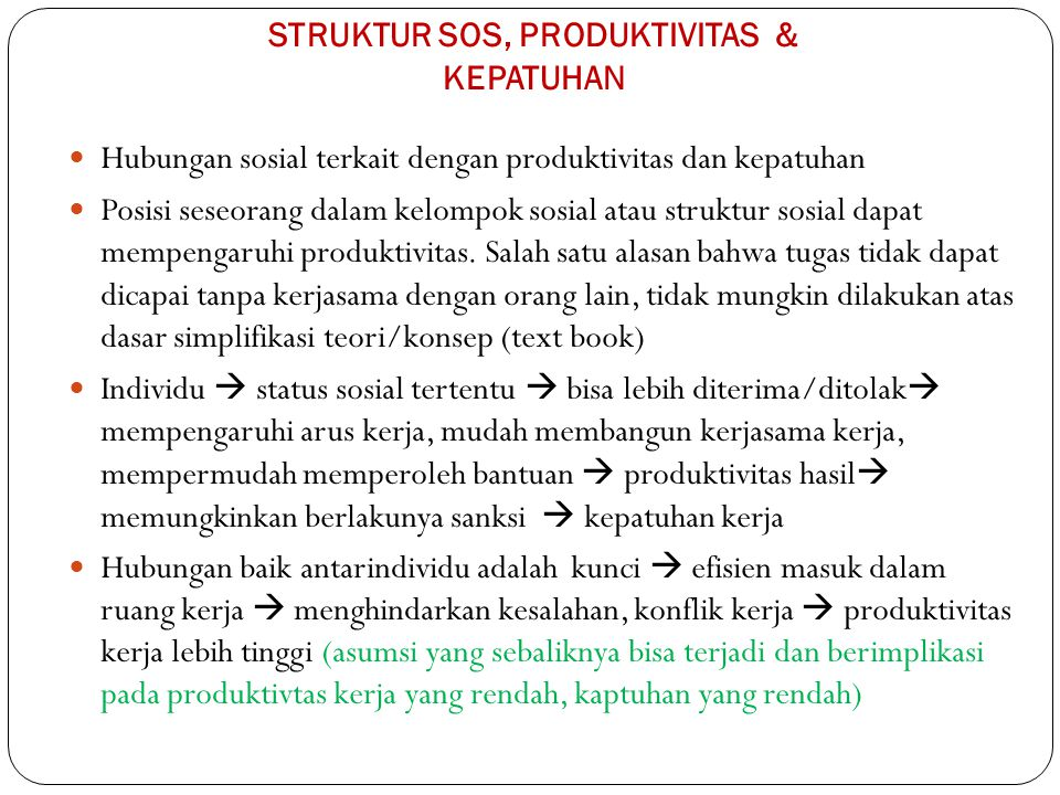 STRUKTUR SOS, PRODUKTIVITAS & KEPATUHAN