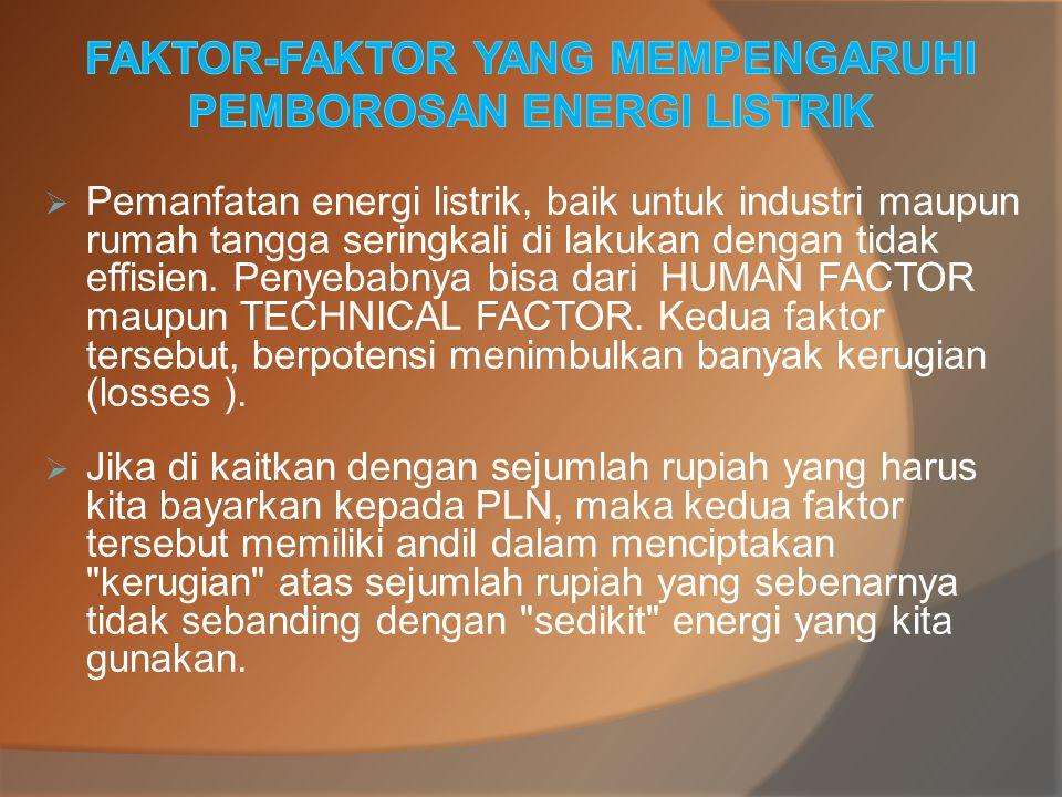 FAKTOR-FAKTOR YANG MEMPENGARUHI PEMBOROSAN ENERGI LISTRIK