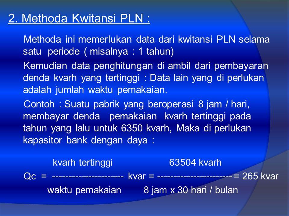 2. Methoda Kwitansi PLN : Methoda ini memerlukan data dari kwitansi PLN selama satu periode ( misalnya : 1 tahun)