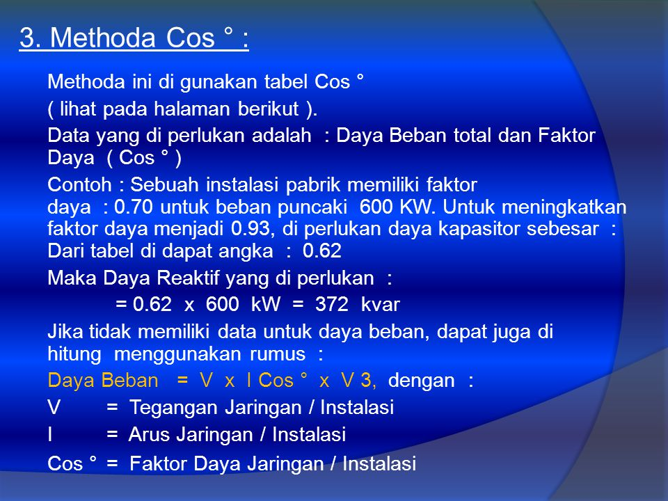 3. Methoda Cos ° :