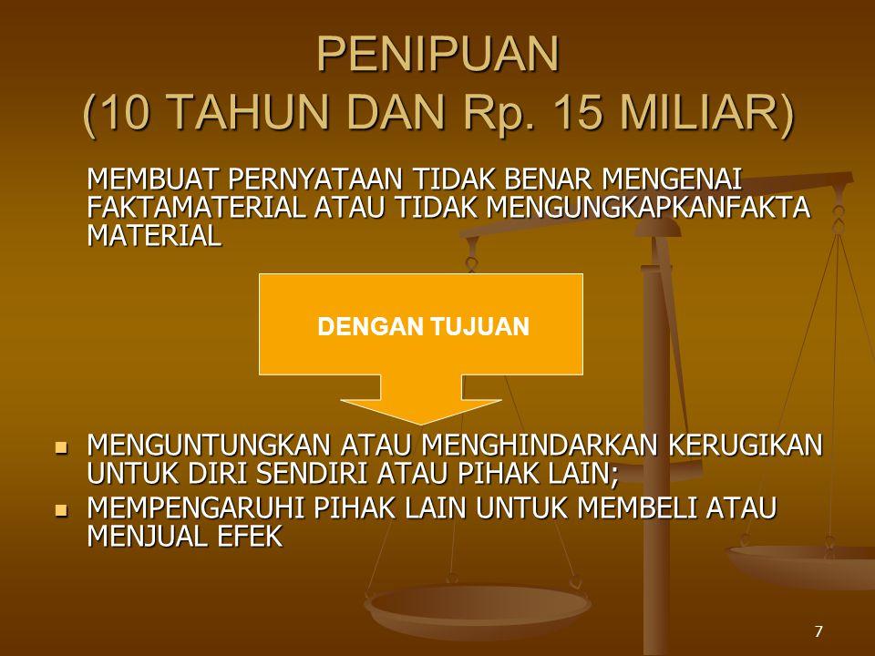 PENIPUAN (10 TAHUN DAN Rp. 15 MILIAR)