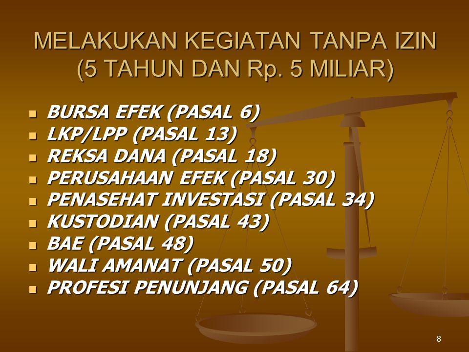 MELAKUKAN KEGIATAN TANPA IZIN (5 TAHUN DAN Rp. 5 MILIAR)
