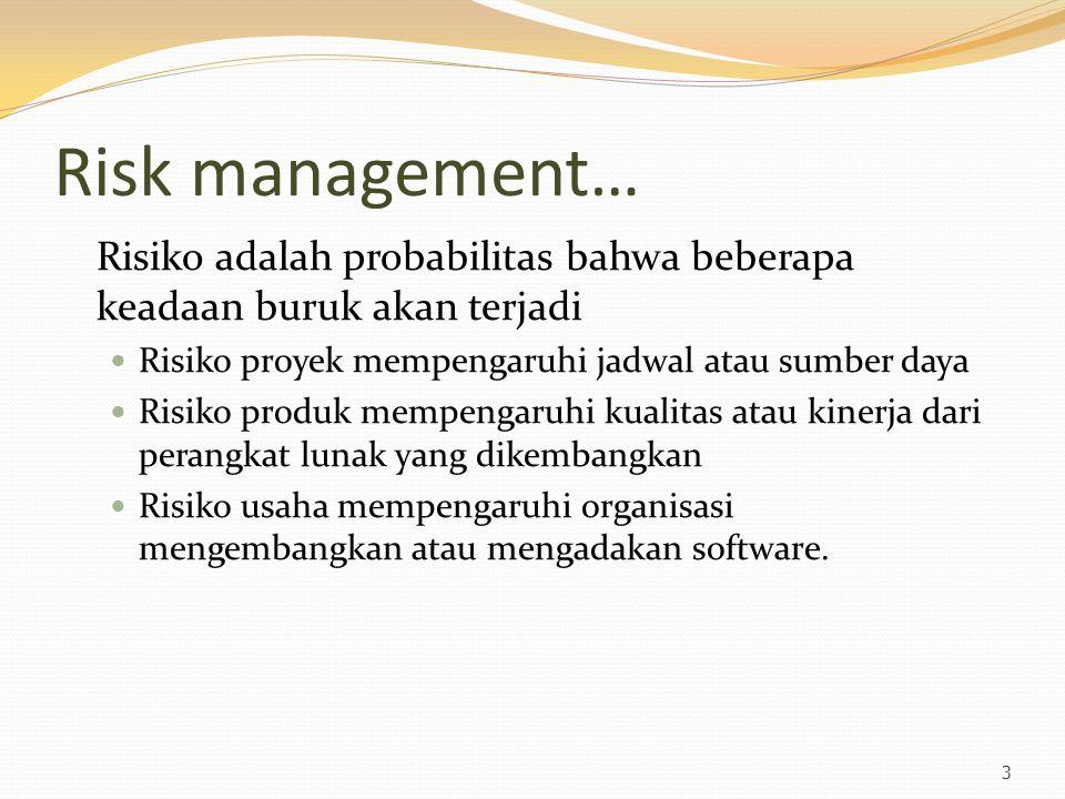 Risk management… Risiko adalah probabilitas bahwa beberapa keadaan buruk akan terjadi. Risiko proyek mempengaruhi jadwal atau sumber daya.