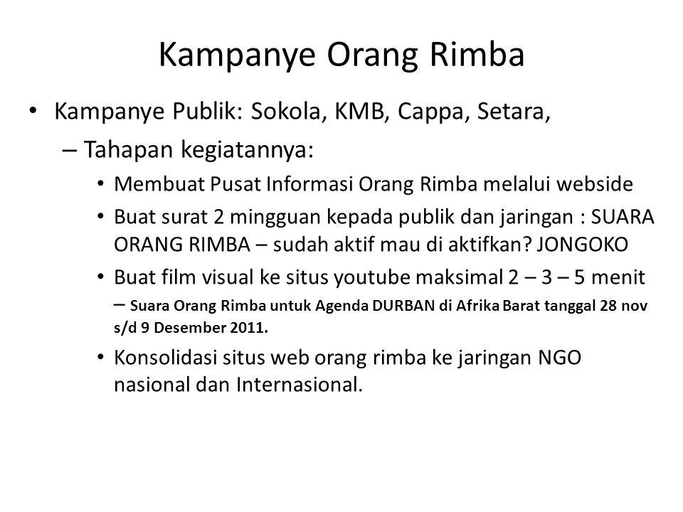 Kampanye Orang Rimba Kampanye Publik: Sokola, KMB, Cappa, Setara,