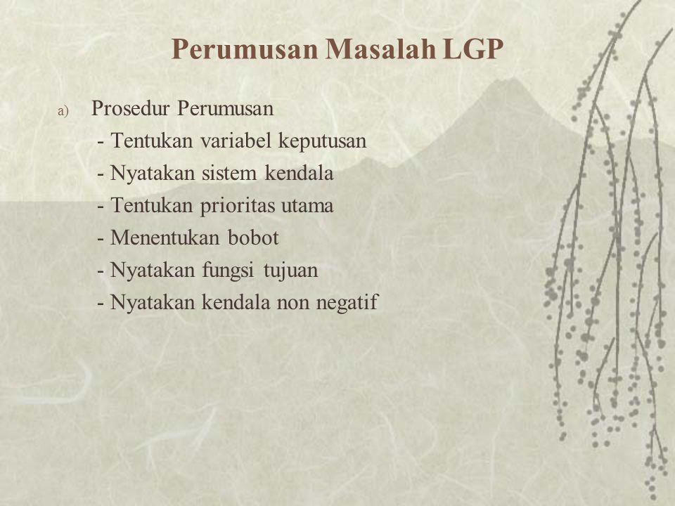 Perumusan Masalah LGP Prosedur Perumusan - Tentukan variabel keputusan