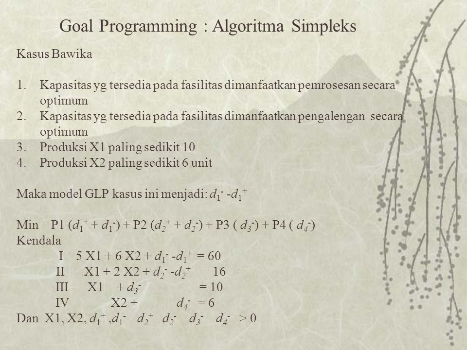 Goal Programming : Algoritma Simpleks