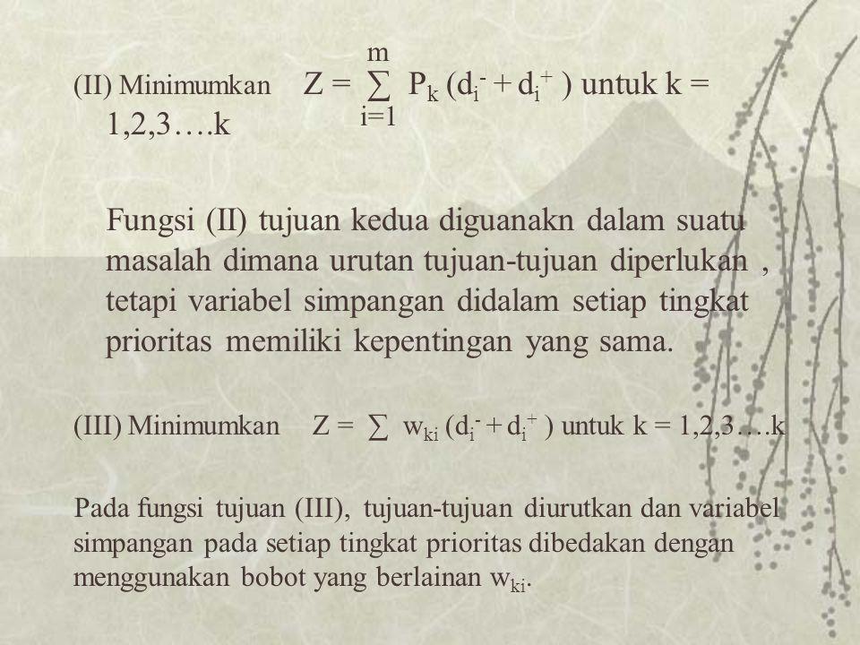 m (II) Minimumkan Z = ∑ Pk (di- + di+ ) untuk k = 1,2,3….k.