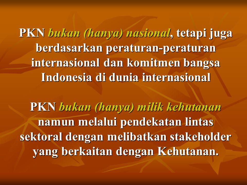 PKN bukan (hanya) nasional, tetapi juga berdasarkan peraturan-peraturan internasional dan komitmen bangsa Indonesia di dunia internasional PKN bukan (hanya) milik kehutanan namun melalui pendekatan lintas sektoral dengan melibatkan stakeholder yang berkaitan dengan Kehutanan.