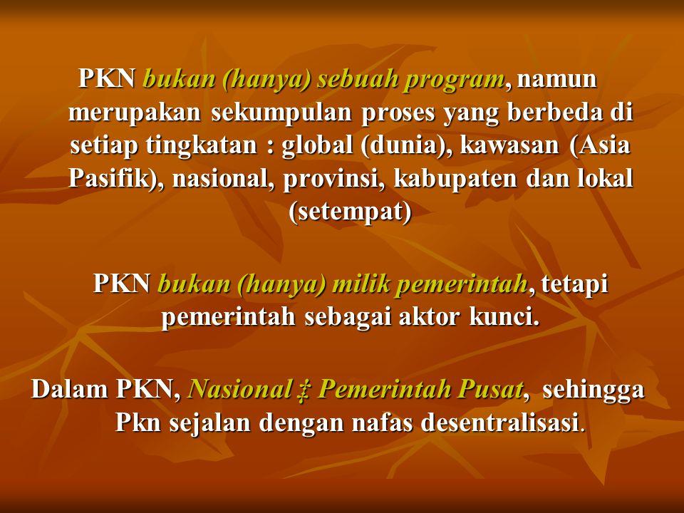 PKN bukan (hanya) sebuah program, namun merupakan sekumpulan proses yang berbeda di setiap tingkatan : global (dunia), kawasan (Asia Pasifik), nasional, provinsi, kabupaten dan lokal (setempat)