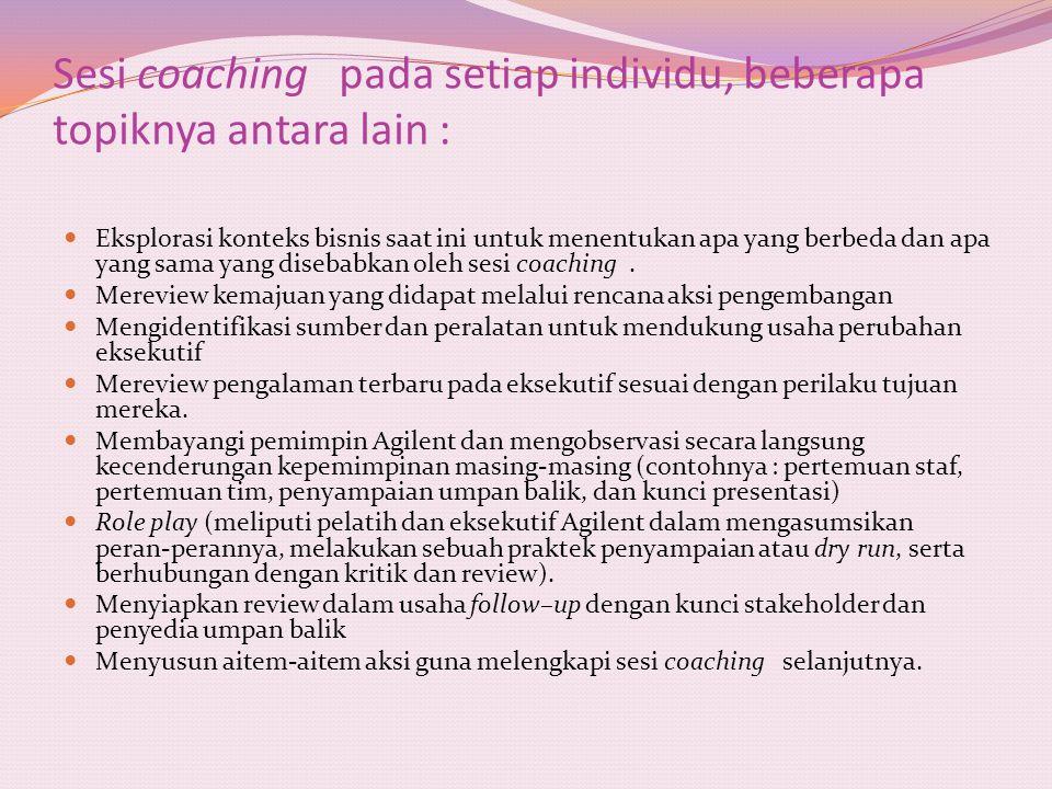Sesi coaching pada setiap individu, beberapa topiknya antara lain :