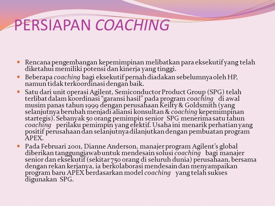 PERSIAPAN COACHING Rencana pengembangan kepemimpinan melibatkan para eksekutif yang telah diketahui memiliki potensi dan kinerja yang tinggi.