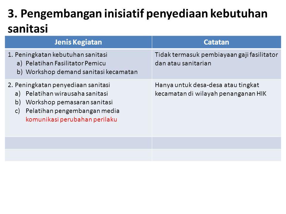 3. Pengembangan inisiatif penyediaan kebutuhan sanitasi