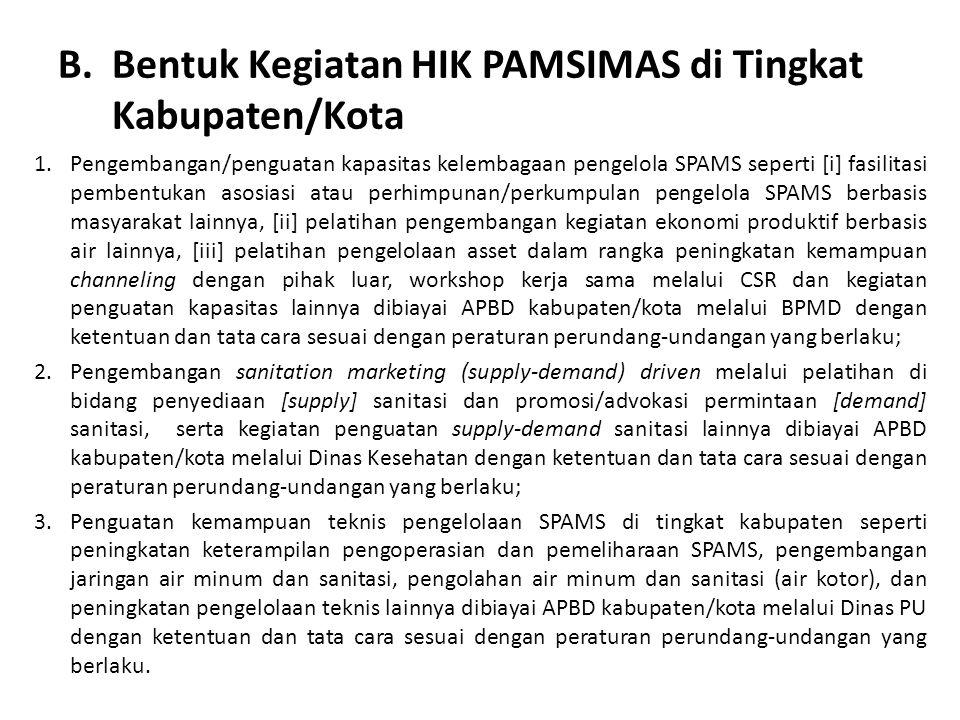 Bentuk Kegiatan HIK PAMSIMAS di Tingkat Kabupaten/Kota