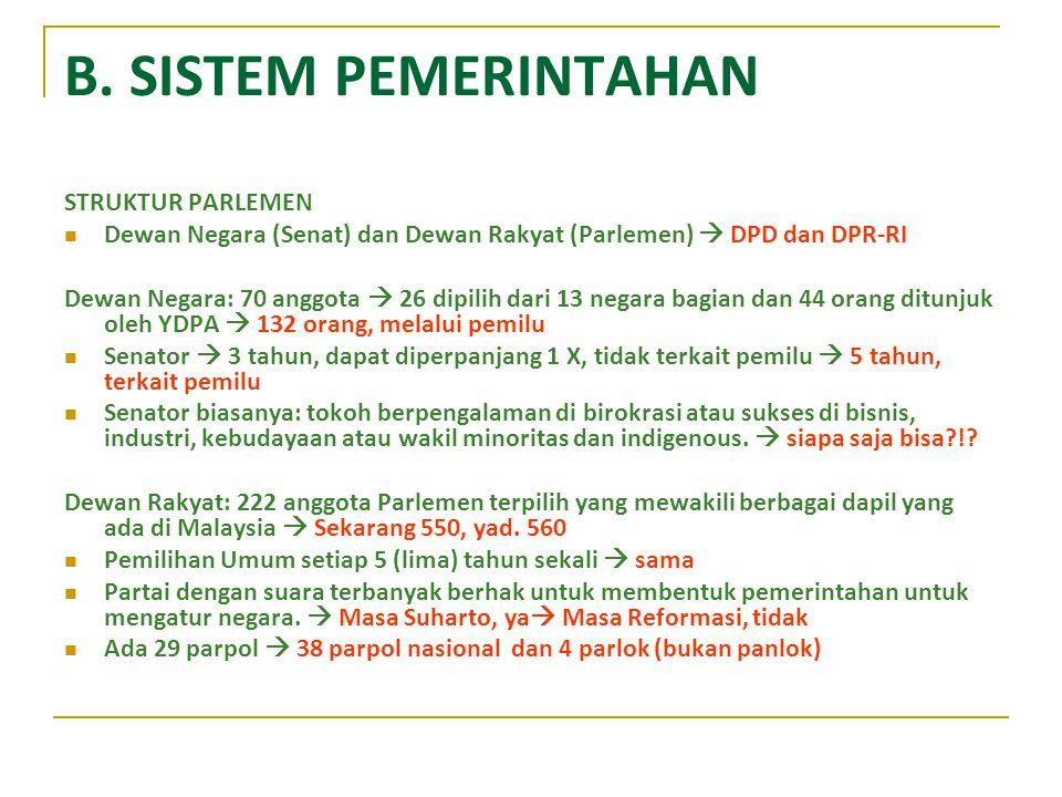 B. SISTEM PEMERINTAHAN STRUKTUR PARLEMEN