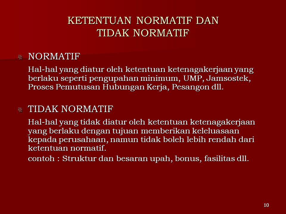 KETENTUAN NORMATIF DAN TIDAK NORMATIF