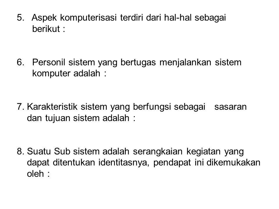 5. Aspek komputerisasi terdiri dari hal-hal sebagai