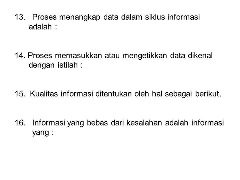 13. Proses menangkap data dalam siklus informasi