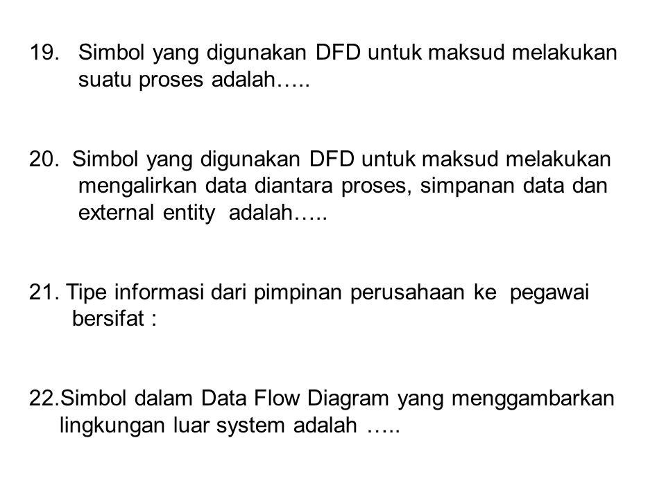 19. Simbol yang digunakan DFD untuk maksud melakukan