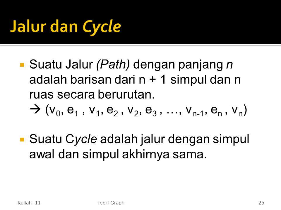 Jalur dan Cycle Suatu Jalur (Path) dengan panjang n adalah barisan dari n + 1 simpul dan n ruas secara berurutan.