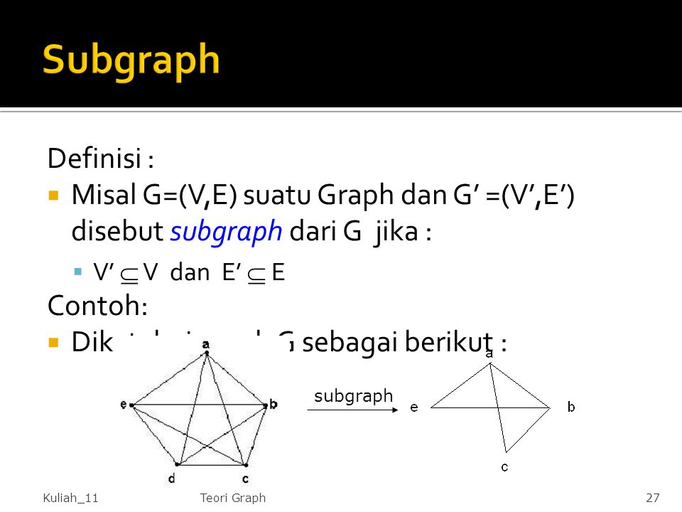 Subgraph Definisi : Misal G=(V,E) suatu Graph dan G' =(V',E') disebut subgraph dari G jika : V'  V dan E'  E.