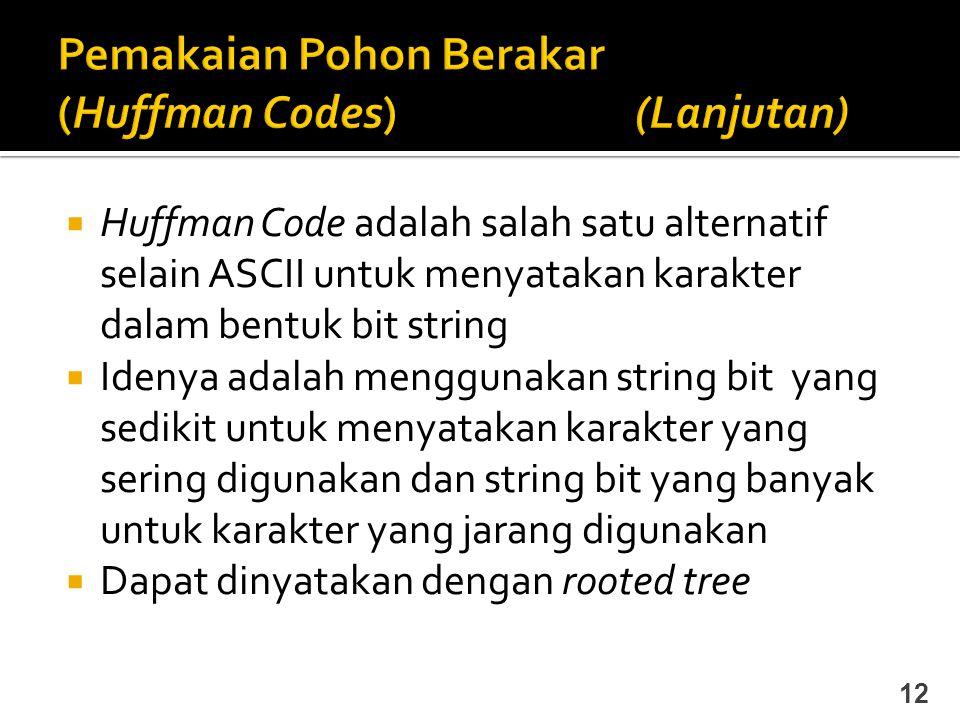 Pemakaian Pohon Berakar (Huffman Codes) (Lanjutan)