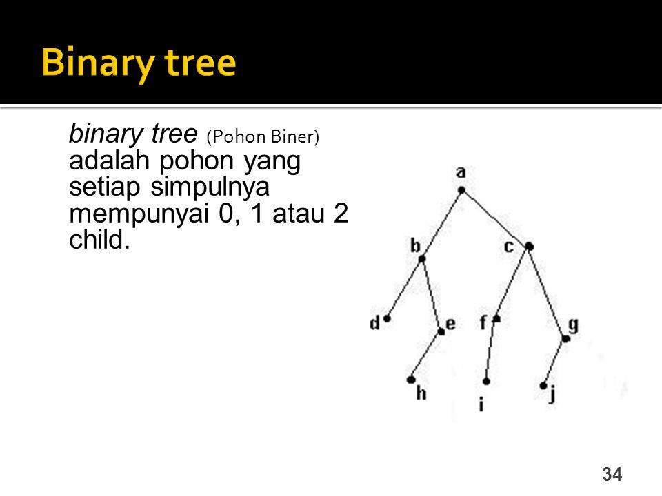 Binary tree binary tree (Pohon Biner) adalah pohon yang setiap simpulnya mempunyai 0, 1 atau 2 child.