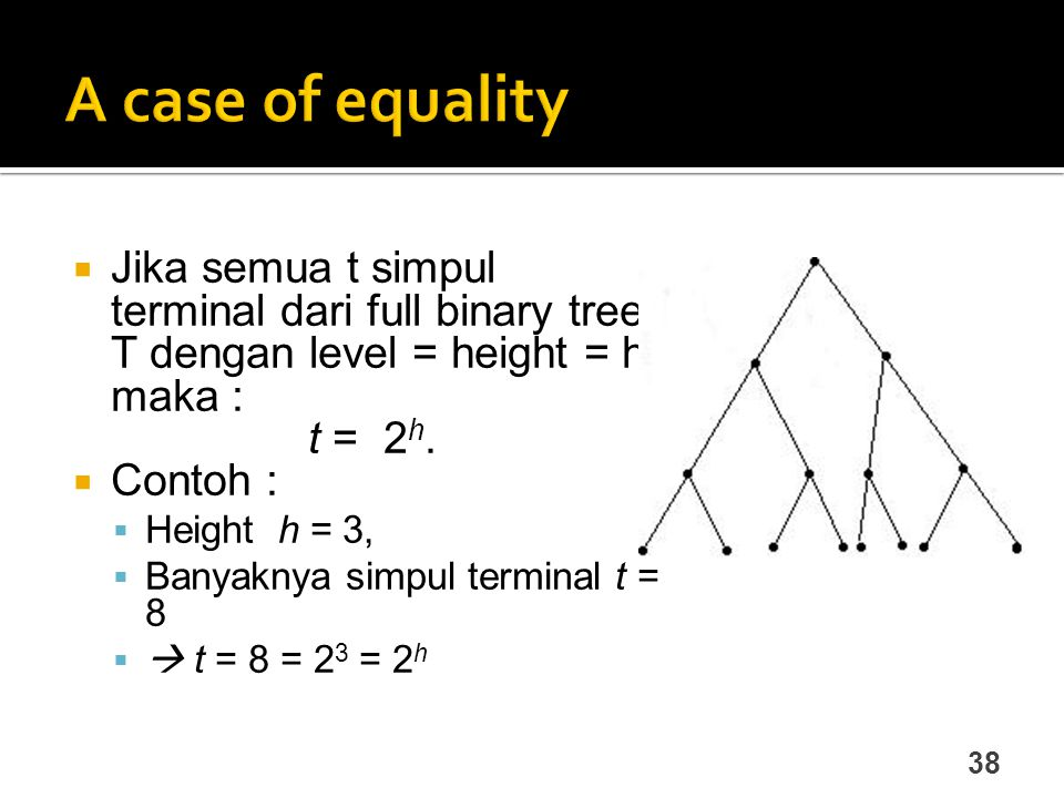 A case of equality Jika semua t simpul terminal dari full binary tree T dengan level = height = h, maka :