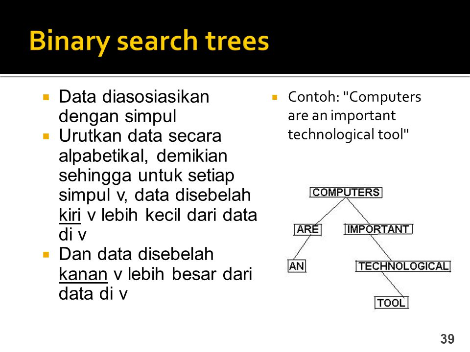 Binary search trees Data diasosiasikan dengan simpul