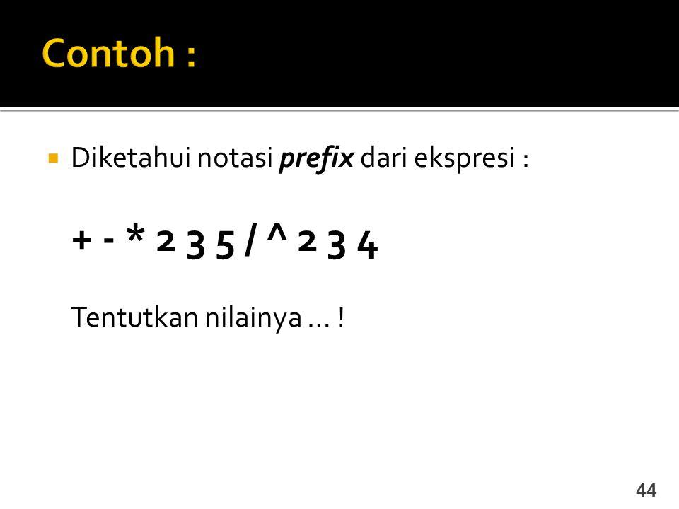 Contoh : + - * 2 3 5 / ^ 2 3 4 Diketahui notasi prefix dari ekspresi :