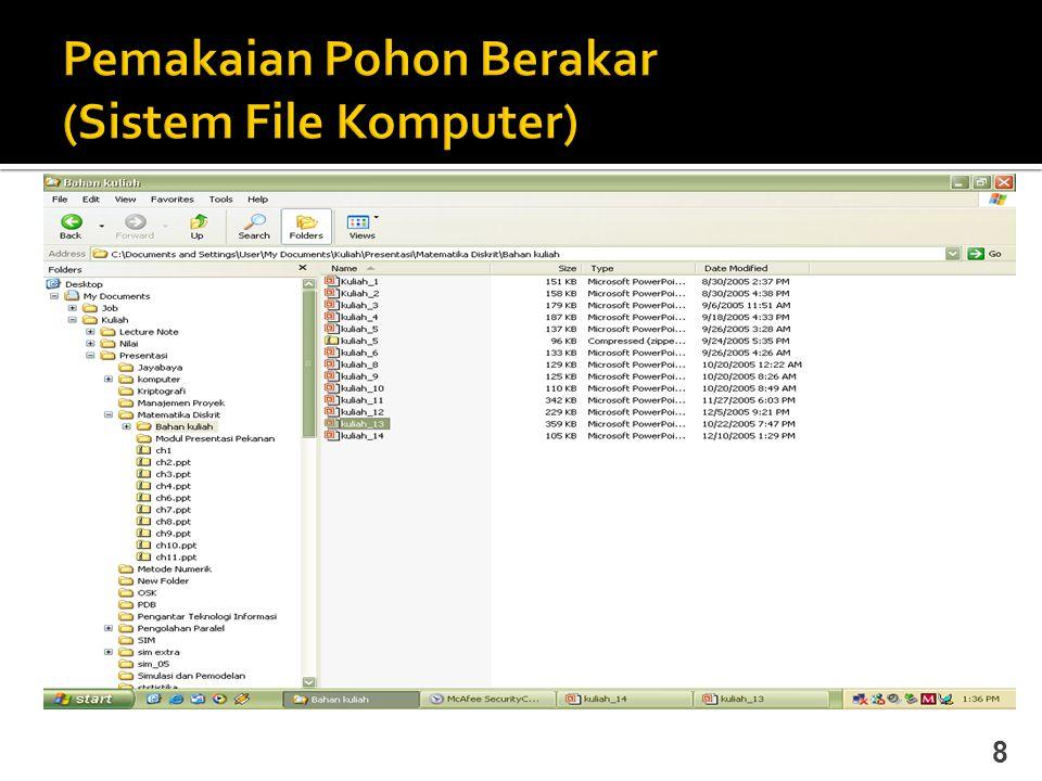 Pemakaian Pohon Berakar (Sistem File Komputer)