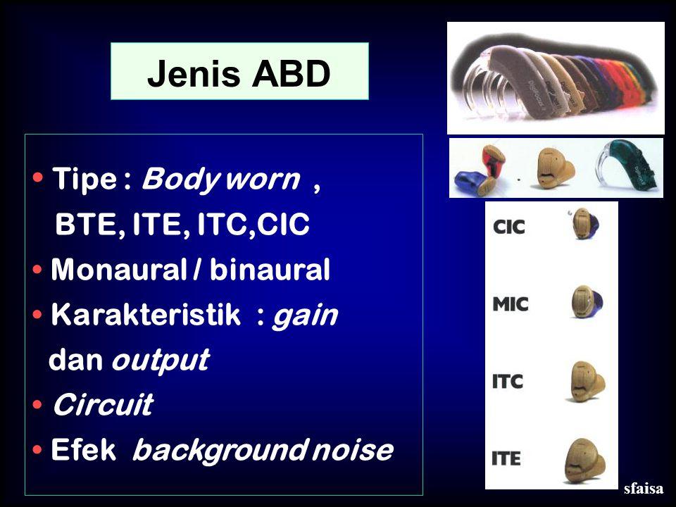 Jenis ABD Tipe : Body worn , BTE, ITE, ITC,CIC Monaural / binaural